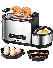 Aicok Grille Pain, 4 en 1 Multifonction Grille Pains Inox avec Mini Poêle électrique, Cuiseur à œufs, Cuiseur Vapeurs, 2 Fentes Extra-Larges, 7 Niveaux de Brunissage, Sans BPA, 1250W, Argent