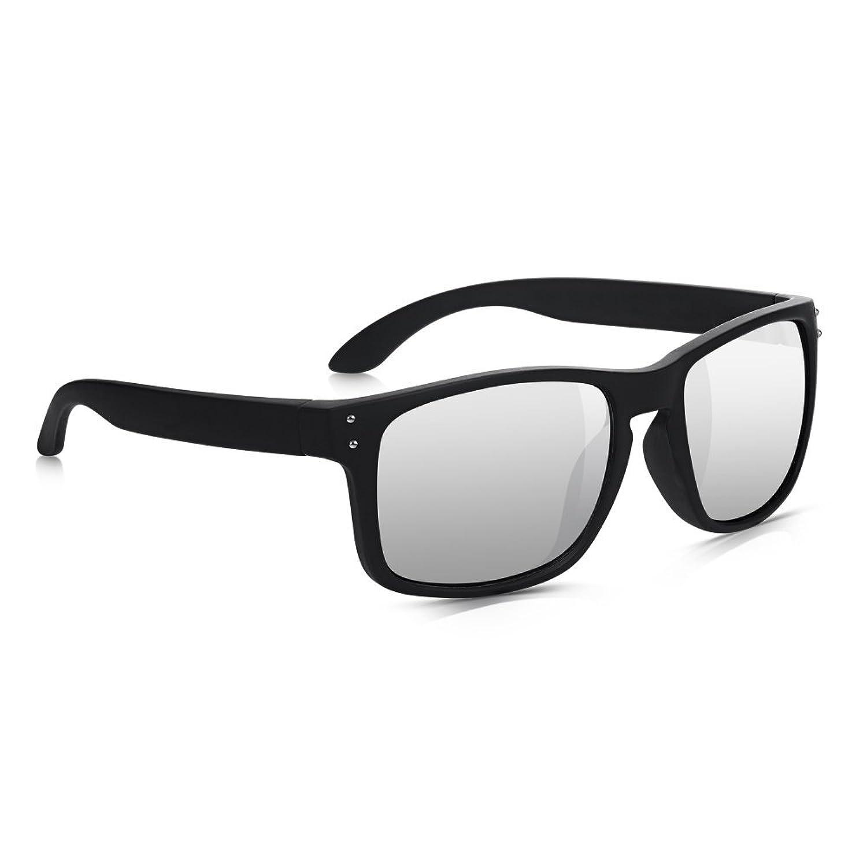 Sunglass Junkie Matt Schwarze Wayfarer Wrap Herren-Sonnenbrille fAi6mY