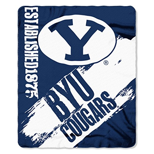 - Officially Licensed NCAA BYU Cougars Painted Printed Fleece Throw Blanket, 50
