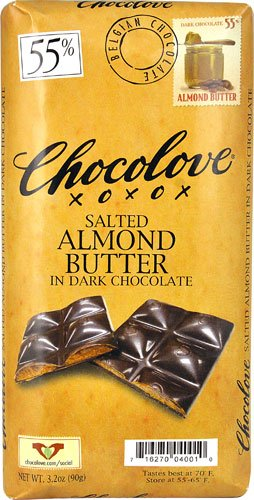 Chocolove Salted Almond Butter in Dark Chocolate 55% -- 3.2 oz - 2 pc - Chocolate Salted Butter