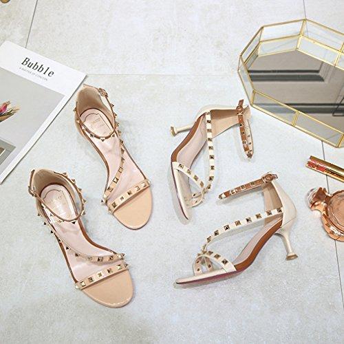 T Sex Dress Heel Fashion Platform Pumps Open Ankle Buckle Roman Strap JULY Studded Ladies Slides Stilettos Rivets Womens Pink Toe AxazATqWwr