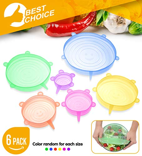 Silicone Stretch Lids - 6PCS Ultimate Instalids Silicon Cover for Various of Containers Keeping Food Fresh Dishwasher And Freeze