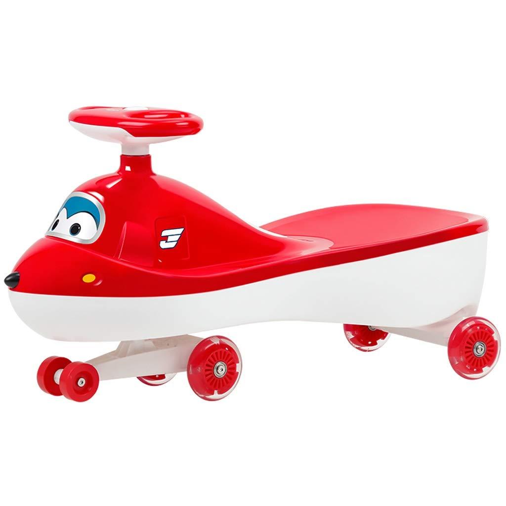 キッズツイスト車、子供のおもちゃスイングカー1-3-7スライディングパズルフィットネスヨージャイロウィグルスクーターミュートロールオーバー防止赤   B07R765WMZ