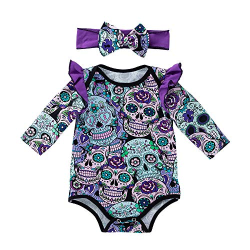 Halloween Costume Outfits (Baby Girls Halloween Costume Outfit Newborn Long Sleeve Cartoon Skull Romper Bodysuit with Headbands 2Pcs Clothes Set (Purple, 6-12)