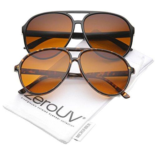 (Retro Large Blue Blocking Lens Aviator Sunglasses 60mm (2-Pack | Blk/Orange Gradient & TT/Amber))