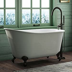"54"" Cast Iron Swedish Tub with NO Faucet Holes & Oil Rubbed Bronze Feet- ""Gentry"""