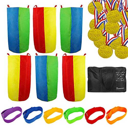 Potato Sack Race Bags - Outdoor Games for Kids and Adults, Includes 6 Pack Potato Sack Race Bags, 6 Pack 3 Legged Race Bands, 12 Pack Plastic Gold Prize Medals and 1 Storage Bag