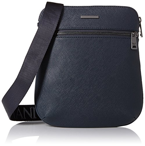 Armani Exchange Men's Safiano Embossed Pu Crossbody Bag, Blue by A|X Armani Exchange