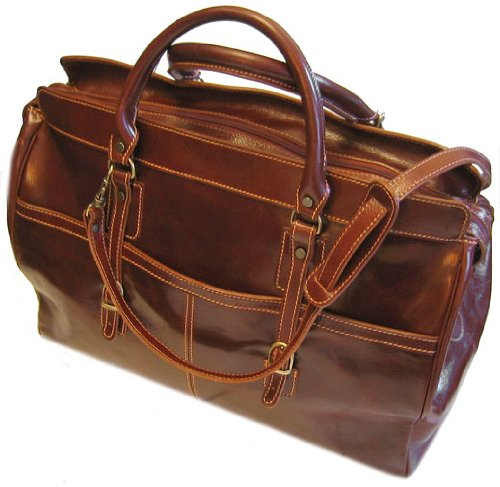 Floto Luggage Casiana Tote Leather Travel Bag, Vecchio Brown, Large by Floto