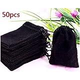 """HOSL 50 Pieces Wholesale Lot - Black Velvet Cloth Jewelry Pouches / Drawstring Bags 3"""" X 4"""" (50, Black)"""