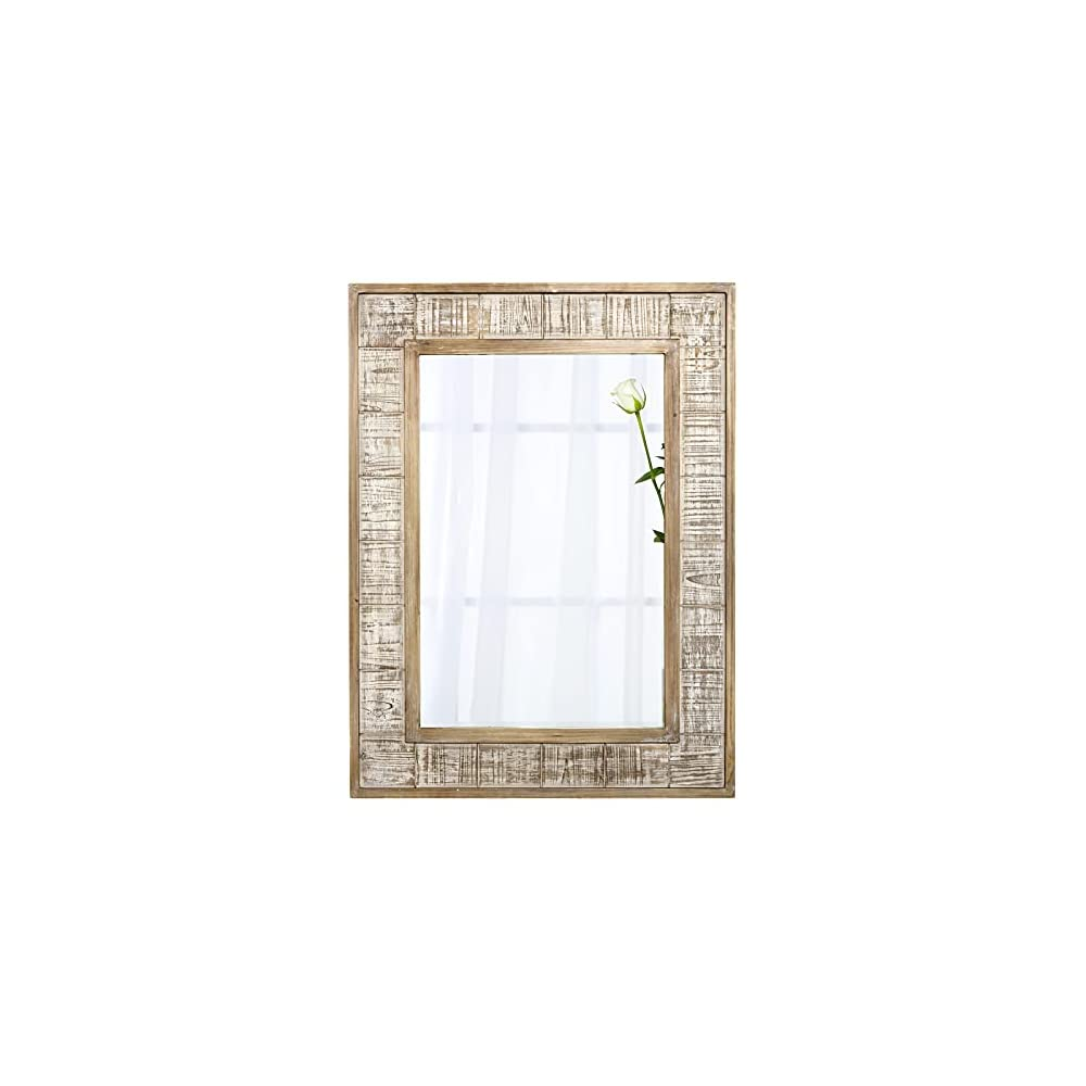 """FUIN 30"""" x 40"""" Rustic Farmhouse Wood Frame Rectangle Wall Mirror for Bathroom Vanity Bedroom Living Room Entryway"""