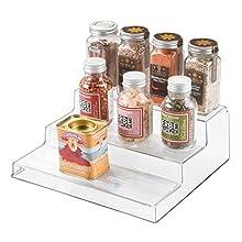 iDesign Linus Linus Plastic 3-Tier Spice Rack, Stadium Organizer Rack for Kitchen Pantry, Cabinet, Countertops, Bathroom, Desk, Clear