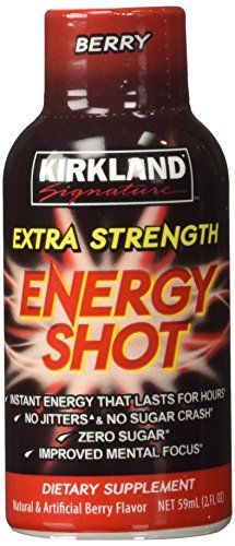 Kirkland Signature Extra Strength Energy Shot Berry, Pomeganate and Grape, 2 oz, 48 ()