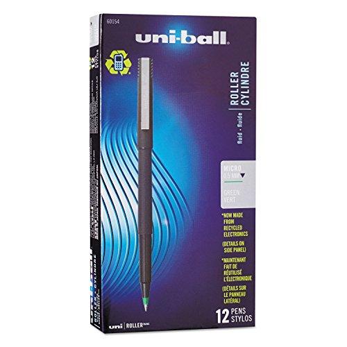 Sanford Uniball Roller Stick Pen, 0.5mm Micro Point, Green Ink, Dozen (60154)