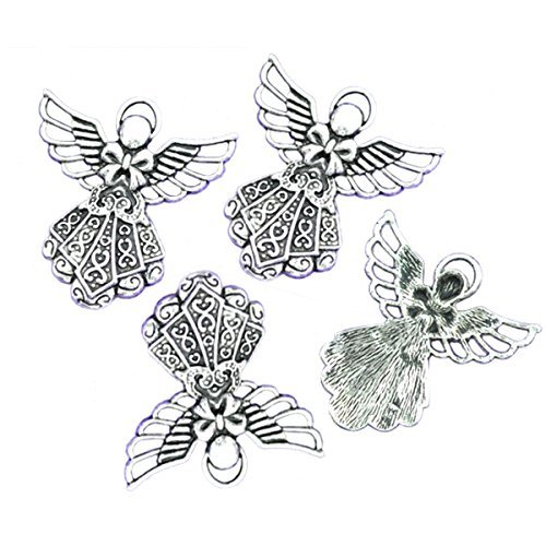Housweety 10 Silver Tone Angel Charms Pendants 42x39mm (Tone Charms Angel)