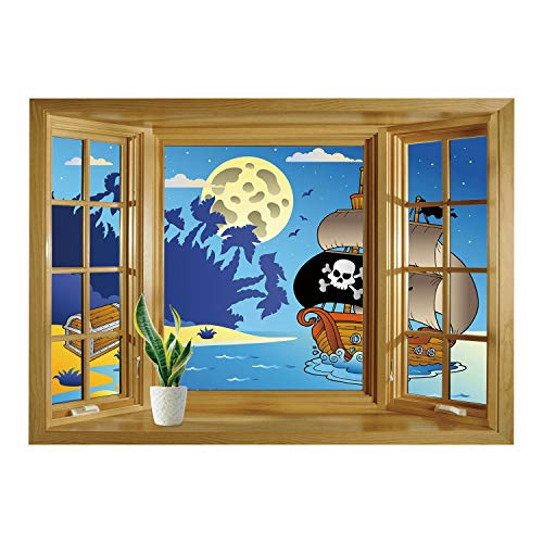 SCOCICI Creative Window View Home Decor/Wall Décor-Pirate,Buccaneer Adventure Antique Ship Deserted Tropical Island Chest Midnight Filibuster Decorative,Multicolor/Wall Sticker Mural