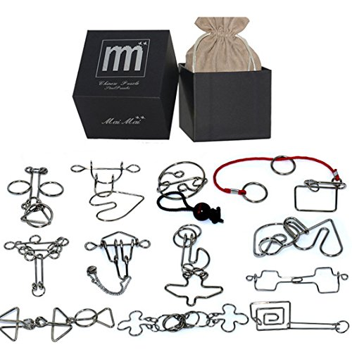 PeleusTech® Wire Puzzles Set, 12PCS Hard Version Metal Wire IQ Puzzles Brain Teaser Toys - (Type C)]()