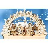 3 D Led Schwibbogen mit Winterkinderfiguren und Schneemann verschneit ink. Stromadapter