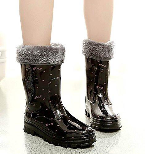 LvRao Botas de Agua de Lluvia el Tacón Alto de las Mujeres | Boots Impermeable Botas Largas de los Tobillo Botines Rosado con Pelaje