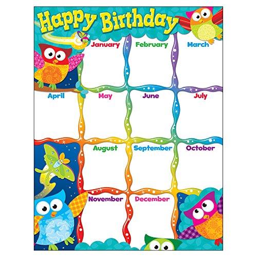 Trend Enterprises Happy Birthday (Owl-Stars!) Learning Chart (T-38452)