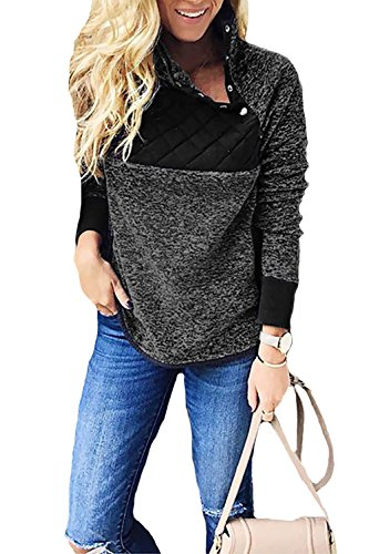 Alelly Womens Long Sleeve Oblique Neck Fleece Pullover Sweatshirts Outwear Tops