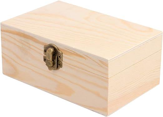 Healifty Caja de Madera con Cerradura Caja de Almacenamiento de Madera con Tapa Cajas Decorativas Caja de Organizador de Joyas Caja de Cerradura de Madera para Soporte de Escritorio (Rectángulo): Amazon.es: Hogar
