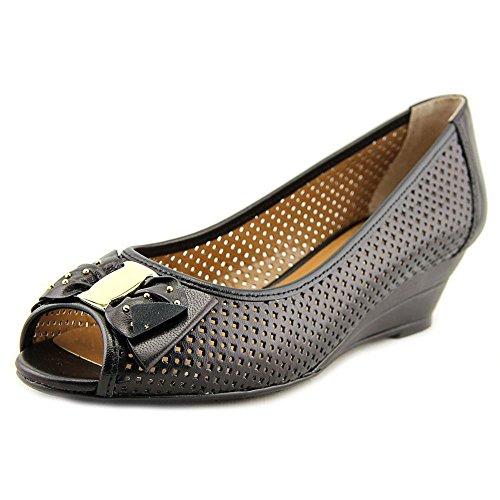 J. Renee Women's Dovehouse Peep Toe Wedge,Black Kidskin Leather,US 7.5 W