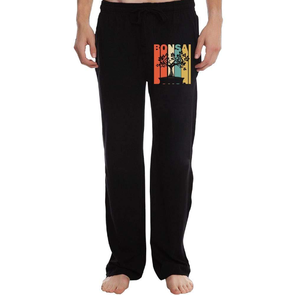 Long Sweatpants for Men Athletic Retro Style Bonsai Silhouette 100/% Cotton Sports Pants