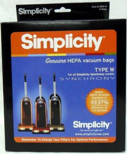 (Simplicity Type W Synchrony HEPA Vacuum Cleaner Bags 6 Pack)