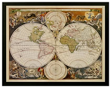 Amazon new world map 17th century vintage global hemisphere quotnew world map 17th centuryquot vintage global hemisphere art framed print by gumiabroncs Image collections