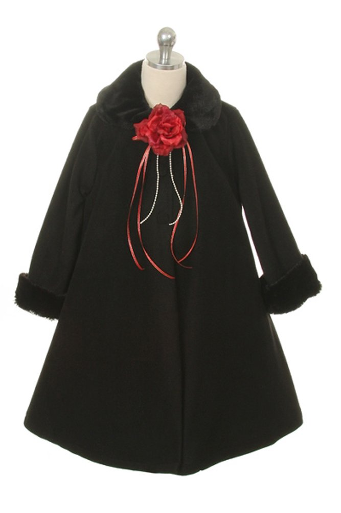 Girl'S Cozy Fleece Long Sleeve Cape Jacket Coat - Black Infant M 6-12 Months 166