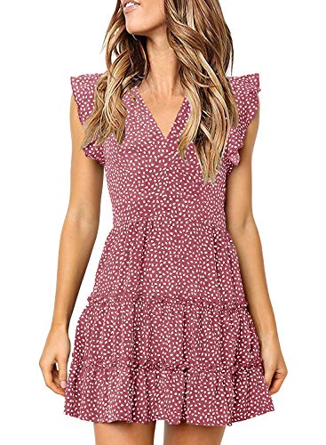 (MITILLY Women's V Neck Ruffle Sleeve Pleated Casual Swing Short Dress with Pockets Small Pink)