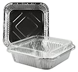 Square Foil Cake Pan 8'' x 8'' with Lid 5 Sets