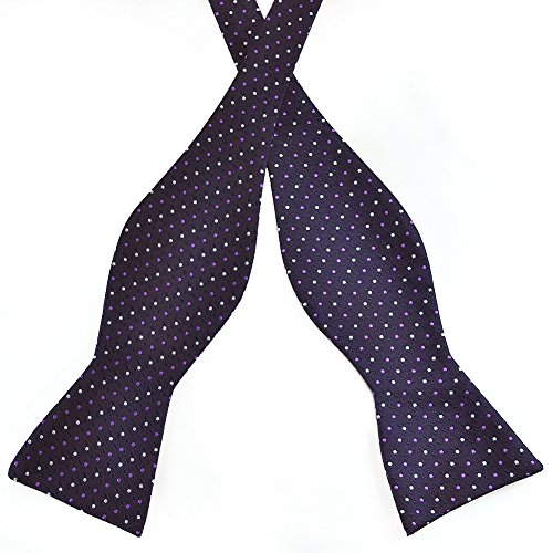 Multi Color Bow Tie (Pensee Mens Self Bow Tie Purple Multi Color Hot Dots Jacquard Woven Silk Bow Ties)