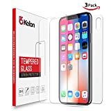 iPhone X Screen Protector Glass [Clear,3 Pack],Okelon Front Back iPhone X Tempered Glass Screen Protector [Case Friendly] [Bubble-Free] with Easy Installation Frame for Apple iPhone X / 10 [3-Pack]