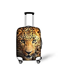HUGS IDEA Leopard Head Printed Elastic Thicken Travel Suitcase Luggage Protective Cover for 26/28/30 Inch
