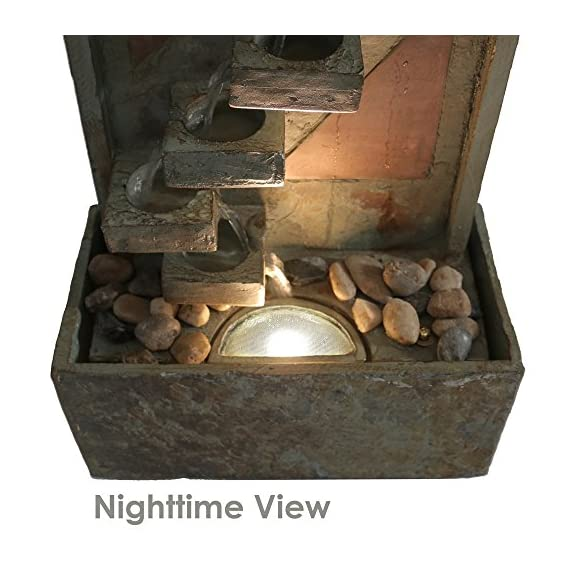 Sunnydaze Descending Staircase Slate Outdoor Water Fountain - Large Garden & Backyard Waterfall Fountain Feature with Copper Accents & LED Light - 48 Inch Tall - LARGE & STURDY STRUCTURE: Large outdoor water fountain weighs 82.2 pounds, so it won't tip over easily outside in the wind, and measures 16 inches wide x 8 inches deep x 48 inches tall SOOTHING WATER SOUNDS: Sit back, relax, and enjoy the soothing and peaceful sounds this outdoor fountain produces as water gently trickles down the descending staircase design on the garden fountain and recirculates back up BEAUTIFUL & ATTRACTIVE DESIGN: Patio water fountain is made from natural slate material with copper accents to highlight and bring beauty to your outdoor space; The copper face of the backyard water fountain will take on an appealing patina finish over time - patio, outdoor-decor, fountains - 51YgIdEtLKL. SS570  -