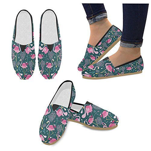 D-etasjers Mote Joggesko Flats Rosa Flamingo Kvinners Klassiske Slip-on Canvas Sko Loafers Multi1
