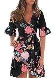 Blooming Jelly Women's Casual Peplum Dress Cross V-Neck Ruffled Sleeve Flare Asymmetric Floral Print Float Short Mini Summer Dress (S, Black)