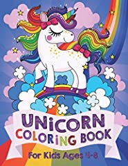 This children's coloring book is full of happy, smiling, beautiful unicorns. For anyone who love unicorns, this book makes a nice gift for ages 4 to 8 years.Please note: This is not an adult coloring book and the style is that of an ordinary ...