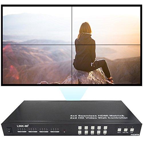 LINK-MI TVM44 Seamless Switch 4x4 HDMI Matrix Create a 2X2 M