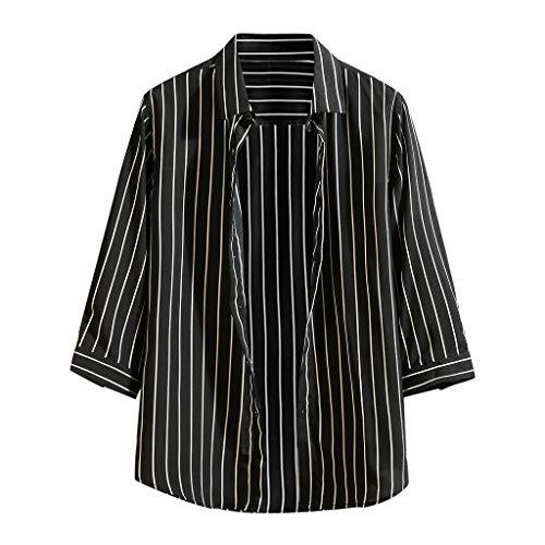 KINGOL Men's Summer Cool Thin Breathable Stripe Shirt Button Cotton Shirt Short Sleeve