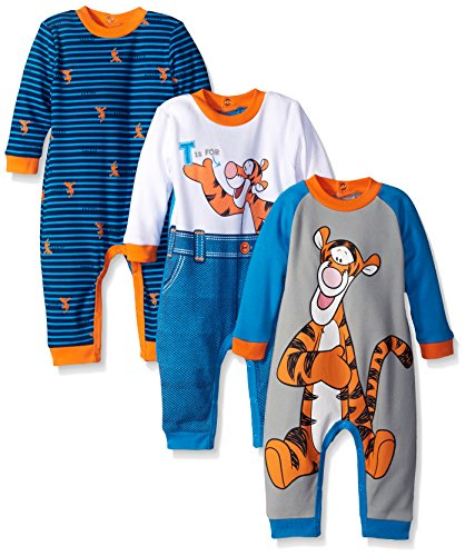Disney Baby Tigger Coveralls, Blue, 9 Months (Pack of 3)