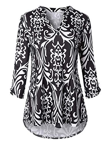Cucuchy Career Blouses for Women,Printed Casual Shirts Ladies 3/4 Sleeve Tunics Notch V Neck Boutique Clothes Lightweight Polyester Tops Fall Zulily Tunic Elegant Office Work Blouse Black ()