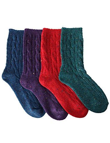OSABASA Wool Crew Socks 4,6Pairs 1 Set With Various Printing (Printing Wool)
