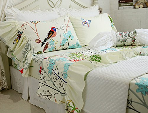 19' Prints (YOUSA Bird Print Bedding Butterfly and Floral Design Fitted Sheets (Twin,04))