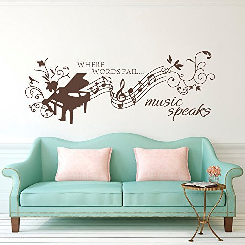Wall Decal Decor Music Notes Wall Decals Quotes- Where Words Fail Music Speaks- Hans Christian Andersen Wall Decal Quote Vinyl Lettering Art (Dark Brown, 22
