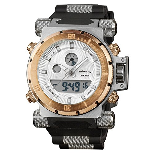 INFANTRY 50mm Big Face Mens Military Tactical Watch Large Digital Sports Watches for Men Heavy Duty