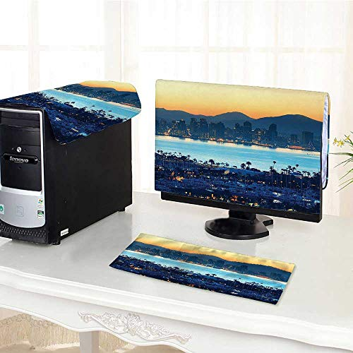 (Auraisehome Computer dust Cover Collection San Diego at Sunrise in Harbor Waterfront Cityscape Business District Scenic Vi dust Cover 3 Pieces Set /30