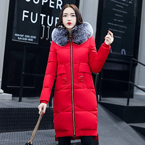 Color Coat Long Sleeve Pocket Thickened Solid Down Red DYF Zipper XXL Jacket Hat qSBwARxIC
